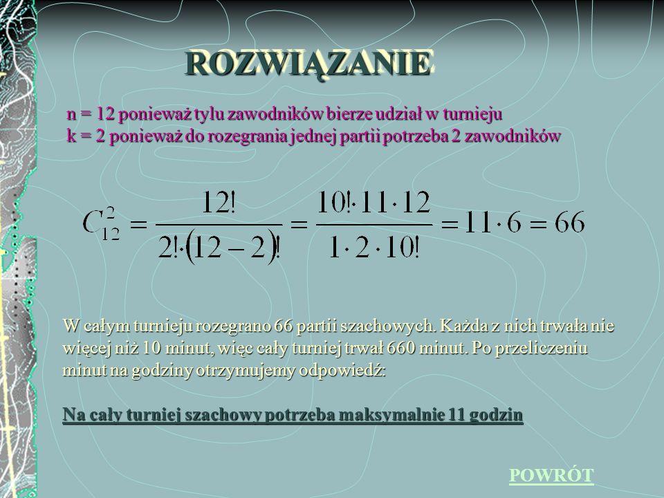 ROZWIĄZANIE n = 12 ponieważ tylu zawodników bierze udział w turnieju
