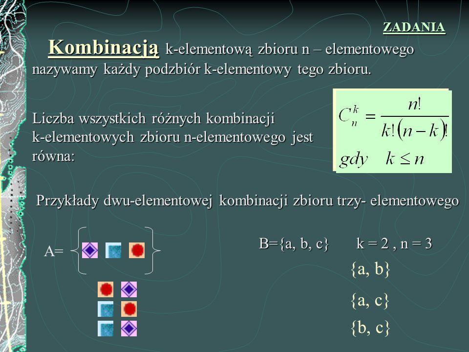 ZADANIA Kombinacją k-elementową zbioru n – elementowego nazywamy każdy podzbiór k-elementowy tego zbioru.