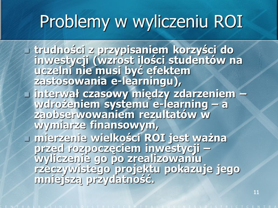 Problemy w wyliczeniu ROI