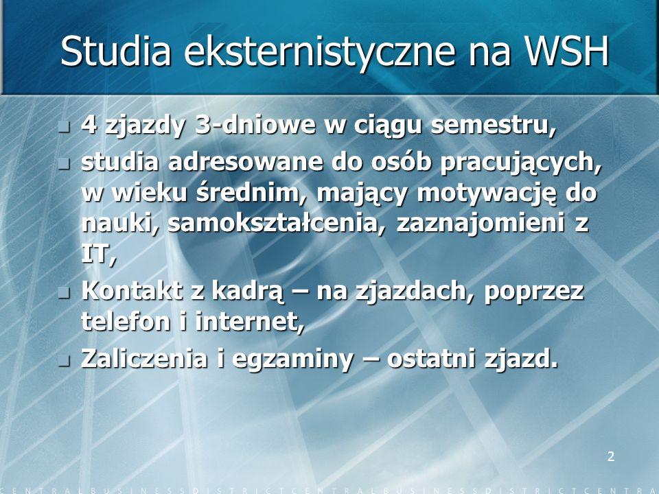 Studia eksternistyczne na WSH