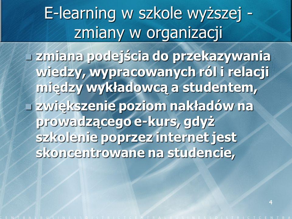 E-learning w szkole wyższej - zmiany w organizacji