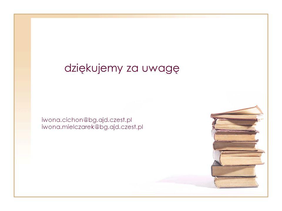 iwona.cichon@bg.ajd.czest.pl iwona.mielczarek@bg.ajd.czest.pl