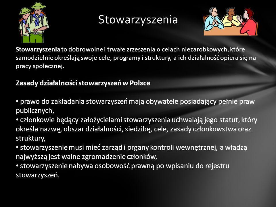 Stowarzyszenia Zasady działalności stowarzyszeń w Polsce