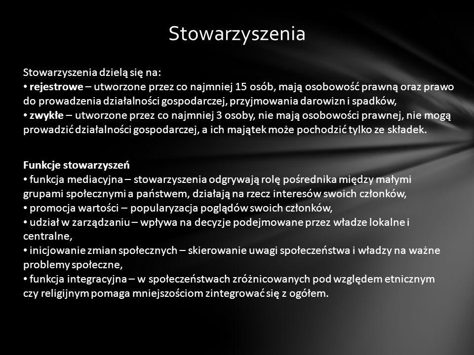 Stowarzyszenia Stowarzyszenia dzielą się na: