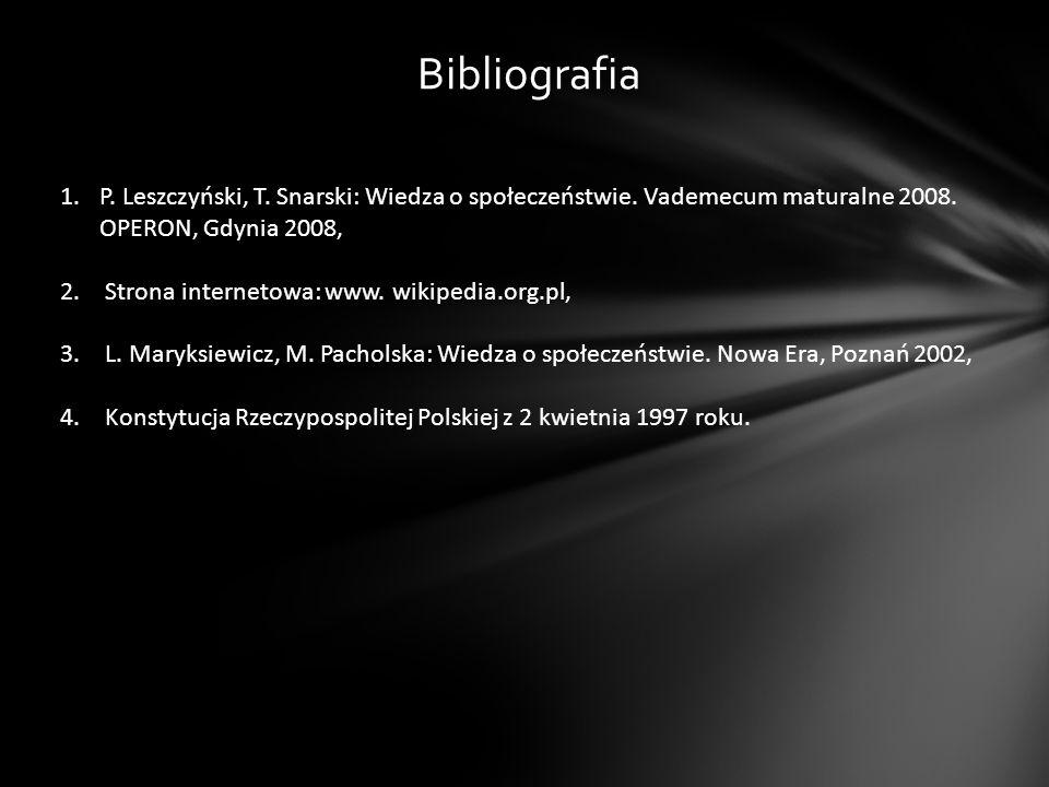 BibliografiaP. Leszczyński, T. Snarski: Wiedza o społeczeństwie. Vademecum maturalne 2008. OPERON, Gdynia 2008,