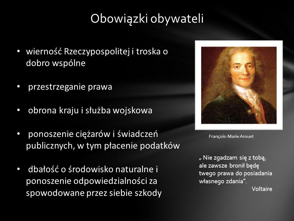Obowiązki obywateli wierność Rzeczypospolitej i troska o dobro wspólne