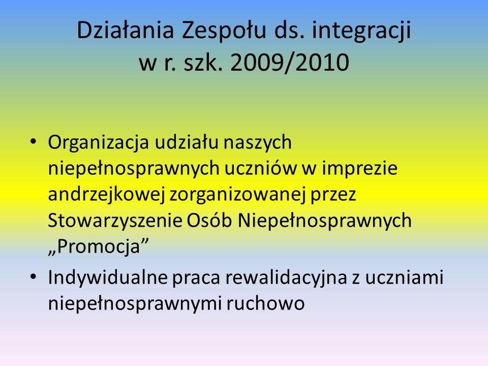 Działania Zespołu ds. integracji w r. szk. 2009/2010