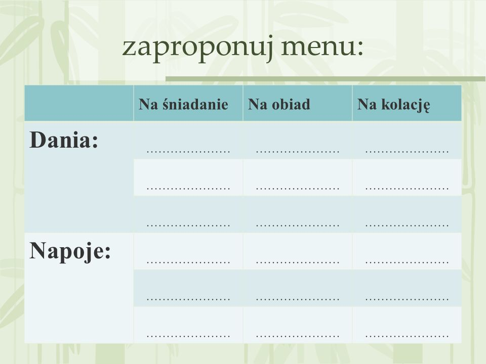 zaproponuj menu: Dania: Napoje: Na śniadanie Na obiad Na kolację