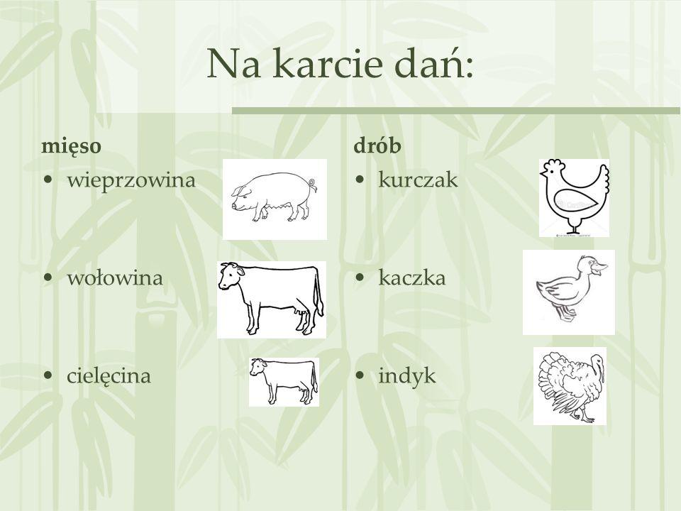 Na karcie dań: mięso drób wieprzowina wołowina cielęcina kurczak
