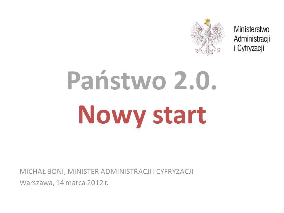 Państwo 2.0. Nowy start MICHAŁ BONI, MINISTER ADMINISTRACJI I CYFRYZACJI Warszawa, 14 marca 2012 r.