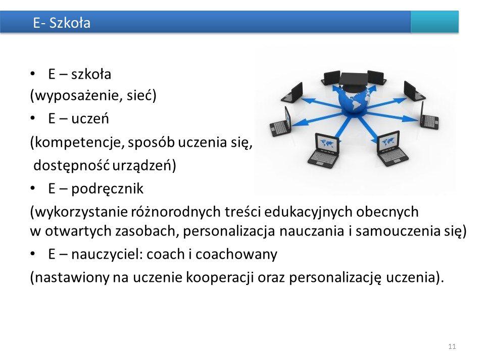 (kompetencje, sposób uczenia się, dostępność urządzeń) E – podręcznik