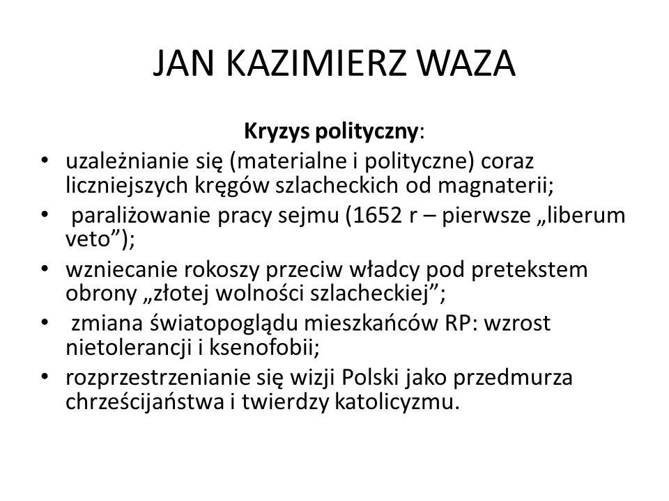 JAN KAZIMIERZ WAZA Kryzys polityczny: