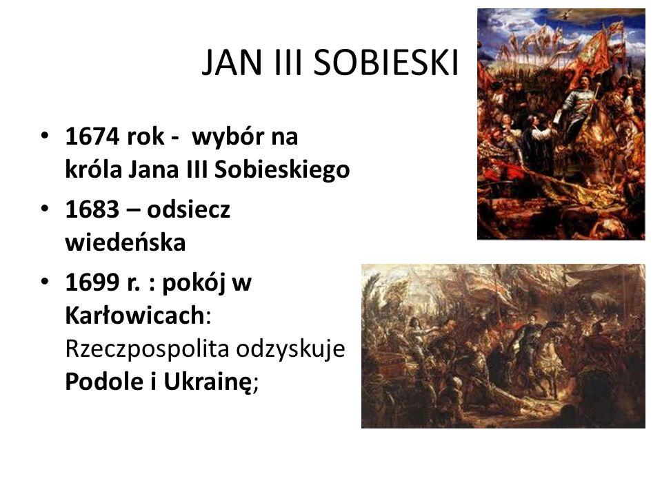 JAN III SOBIESKI 1674 rok - wybór na króla Jana III Sobieskiego
