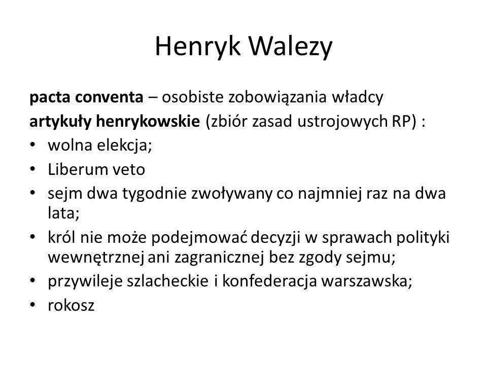 Henryk Walezy pacta conventa – osobiste zobowiązania władcy