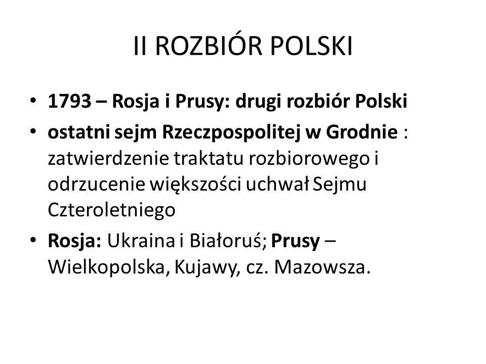 II ROZBIÓR POLSKI 1793 – Rosja i Prusy: drugi rozbiór Polski