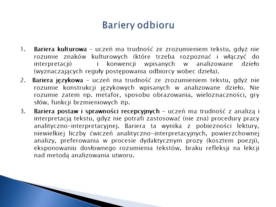 Bariery odbioru
