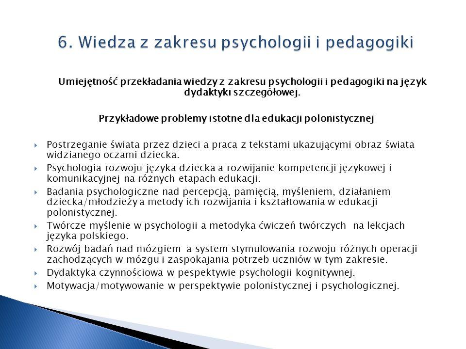 6. Wiedza z zakresu psychologii i pedagogiki