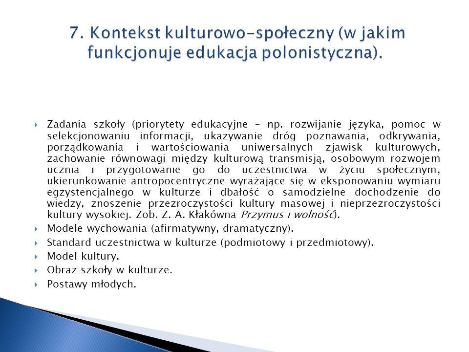 7. Kontekst kulturowo-społeczny (w jakim funkcjonuje edukacja polonistyczna).