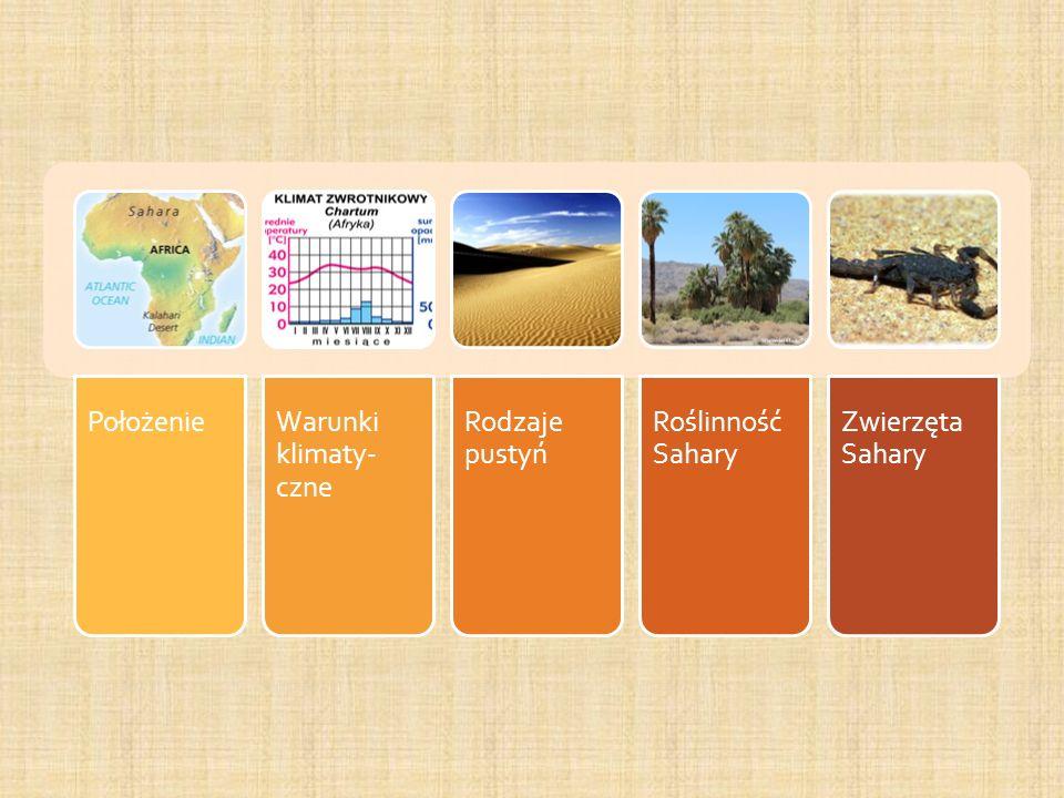 Położenie Warunki klimaty-czne Rodzaje pustyń Roślinność Sahary Zwierzęta Sahary