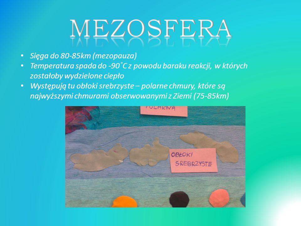 MEZOSFERA Sięga do 80-85km (mezopauza)