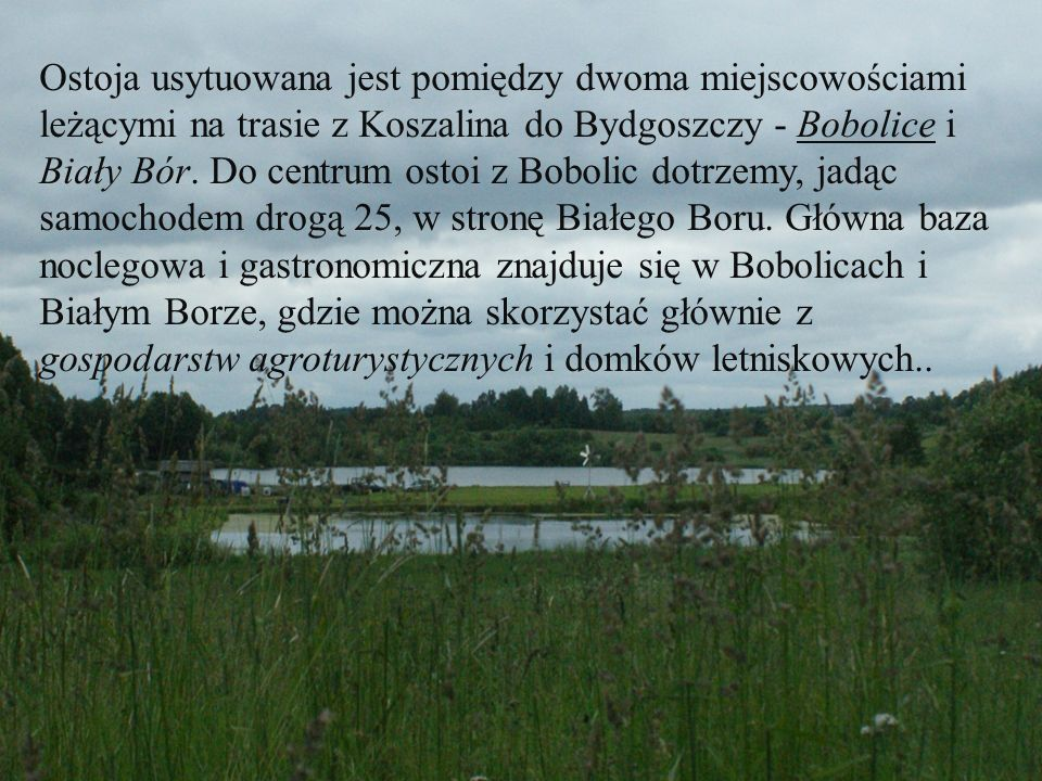 Ostoja usytuowana jest pomiędzy dwoma miejscowościami leżącymi na trasie z Koszalina do Bydgoszczy - Bobolice i Biały Bór.