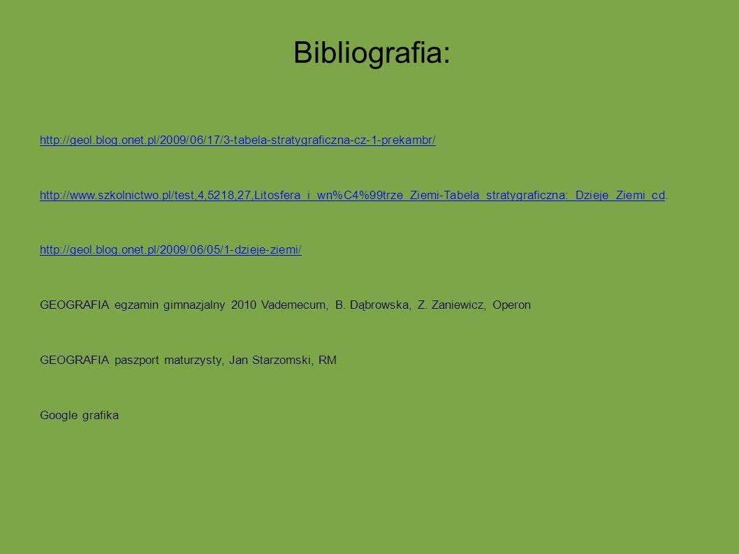 Bibliografia: http://geol.blog.onet.pl/2009/06/17/3-tabela-stratygraficzna-cz-1-prekambr/