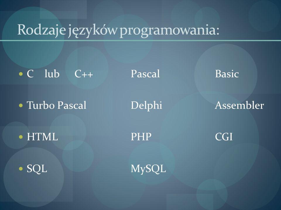 Rodzaje języków programowania: