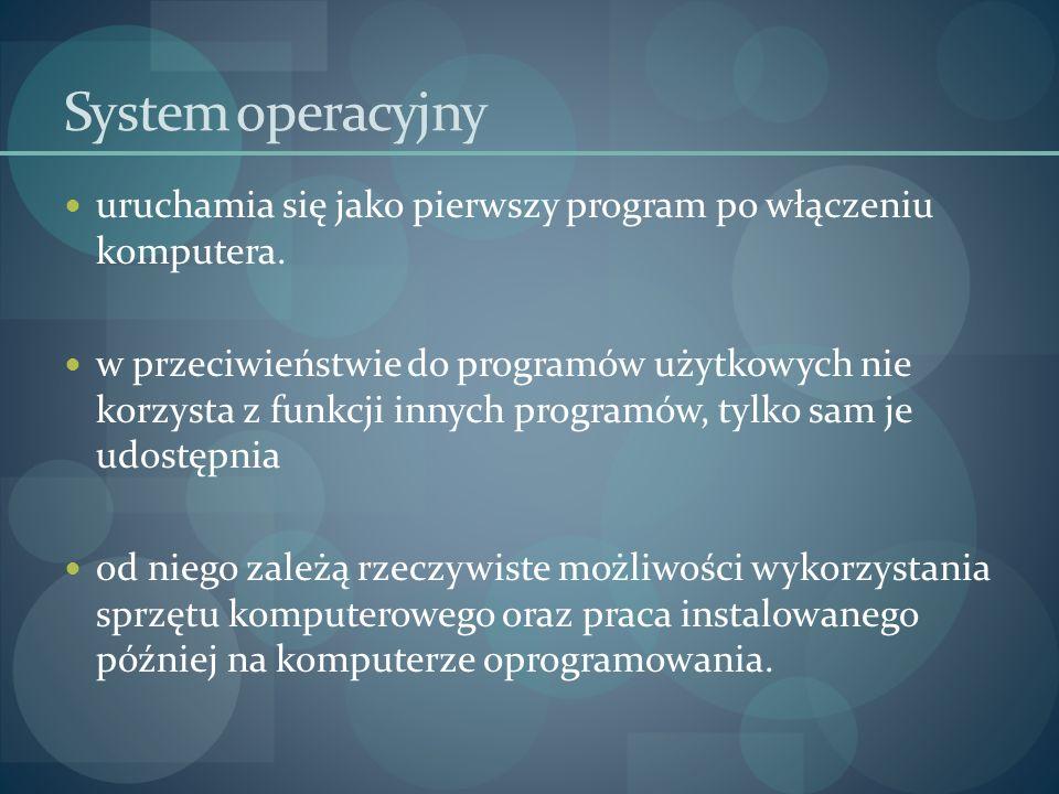 System operacyjny uruchamia się jako pierwszy program po włączeniu komputera.