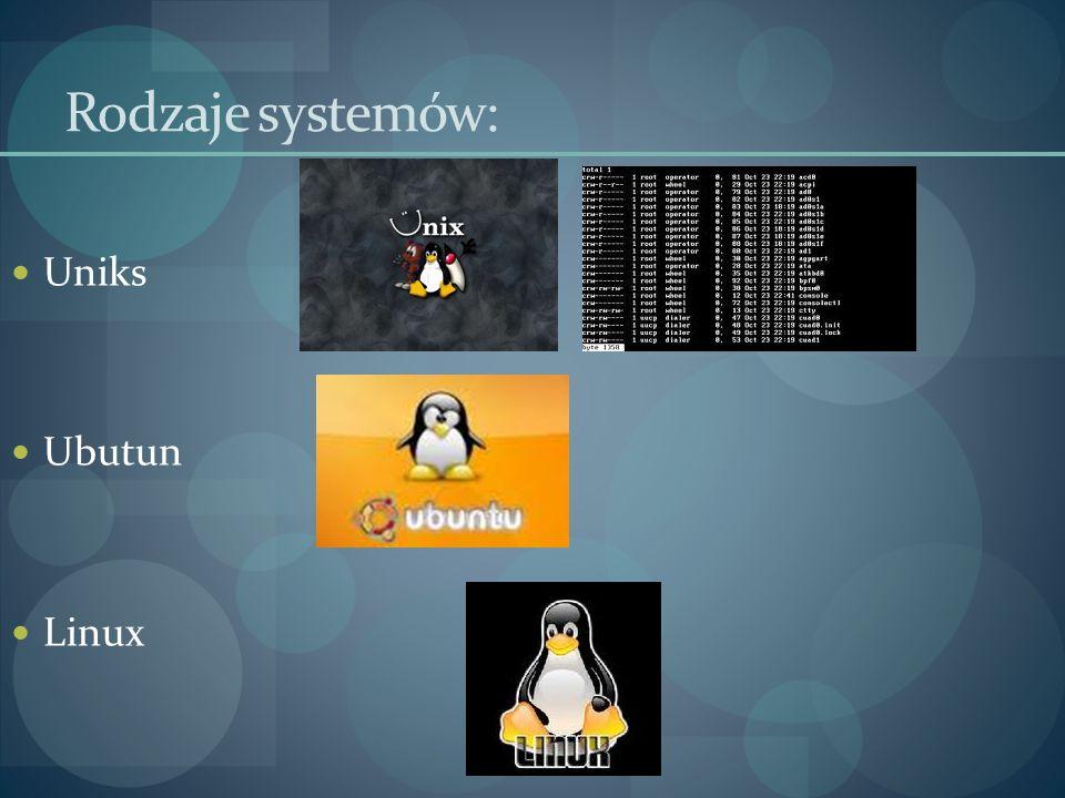 Rodzaje systemów: Uniks Ubutun Linux