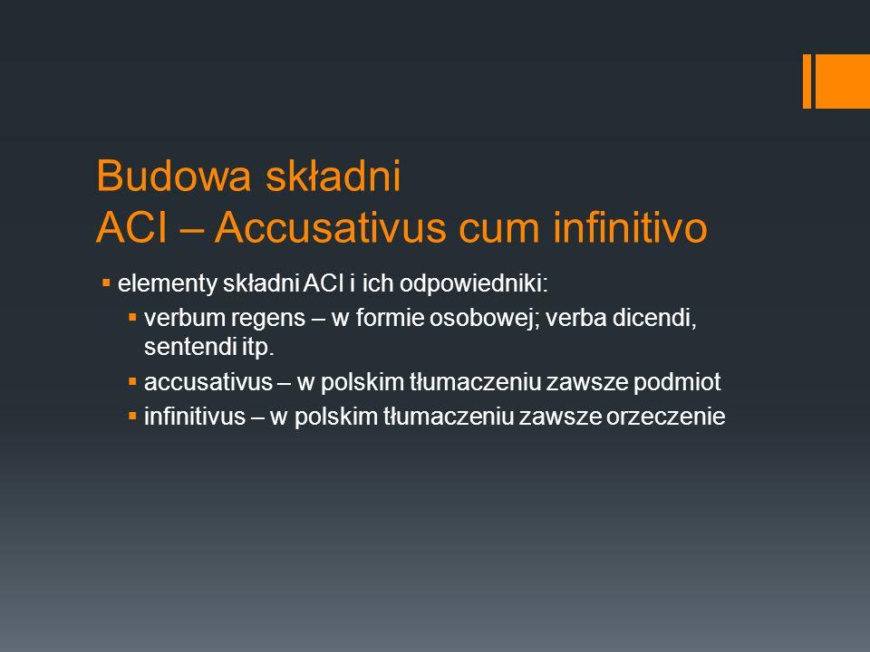 Budowa składni ACI – Accusativus cum infinitivo