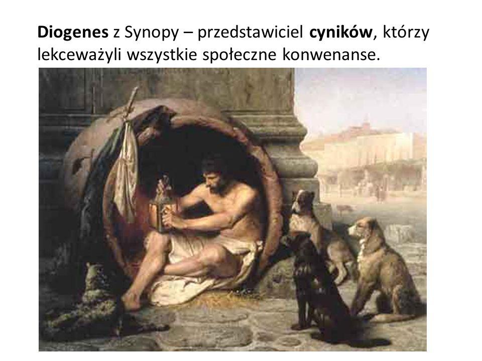Diogenes z Synopy – przedstawiciel cyników, którzy lekceważyli wszystkie społeczne konwenanse.