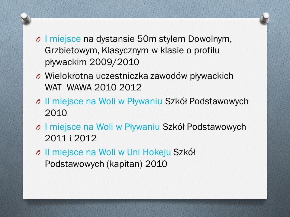 I miejsce na dystansie 50m stylem Dowolnym, Grzbietowym, Klasycznym w klasie o profilu pływackim 2009/2010