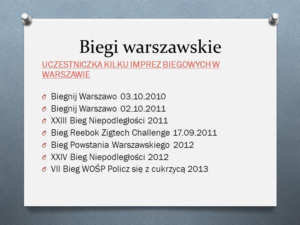 Biegi warszawskie UCZESTNICZKA KILKU IMPREZ BIEGOWYCH W WARSZAWIE