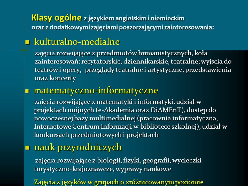 Zajęcia z języków w grupach o zróżnicowanym poziomie