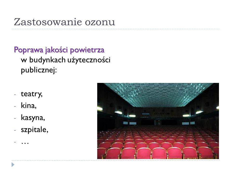 Zastosowanie ozonu Poprawa jakości powietrza w budynkach użyteczności publicznej: teatry, kina,