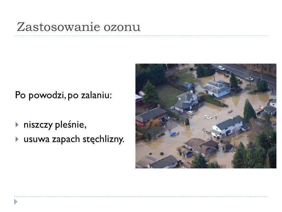 Zastosowanie ozonu Po powodzi, po zalaniu: niszczy pleśnie,