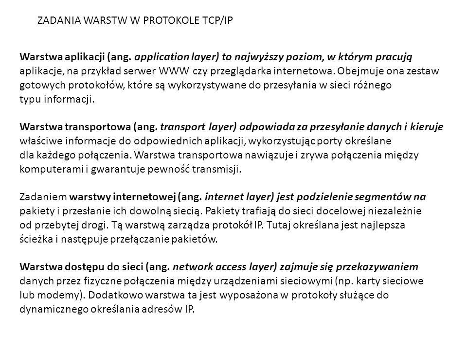 ZADANIA WARSTW W PROTOKOLE TCP/IP
