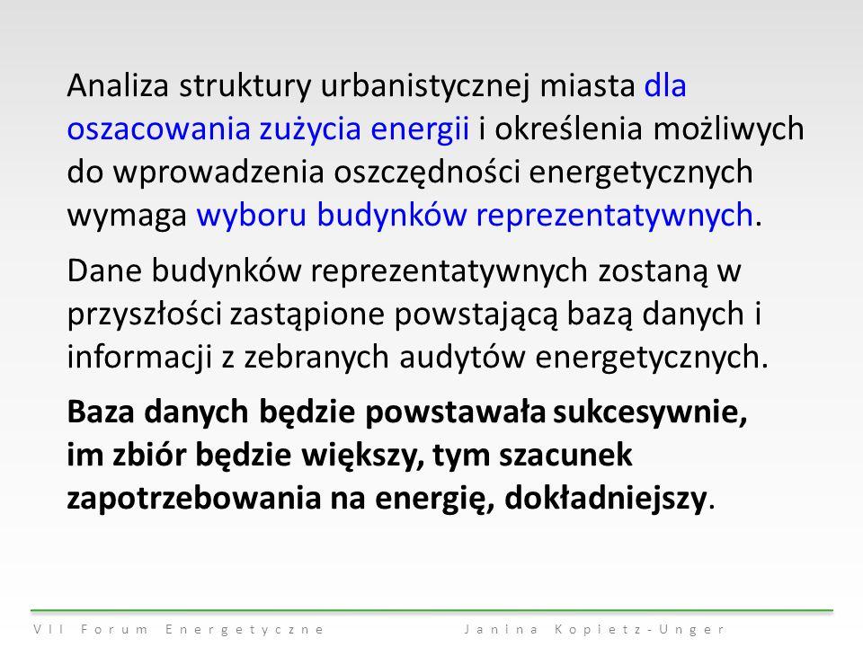 Analiza struktury urbanistycznej miasta dla oszacowania zużycia energii i określenia możliwych do wprowadzenia oszczędności energetycznych wymaga wyboru budynków reprezentatywnych.