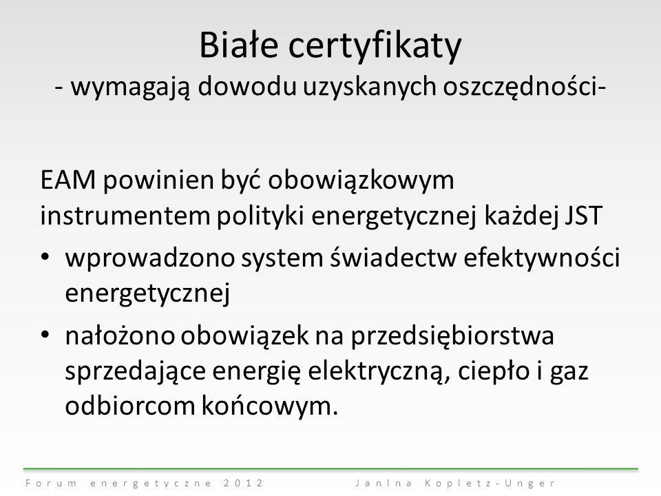 Białe certyfikaty - wymagają dowodu uzyskanych oszczędności-