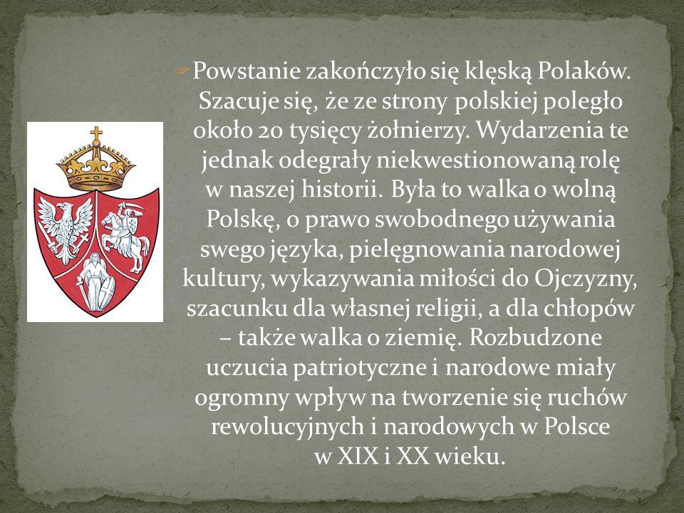 Powstanie zakończyło się klęską Polaków