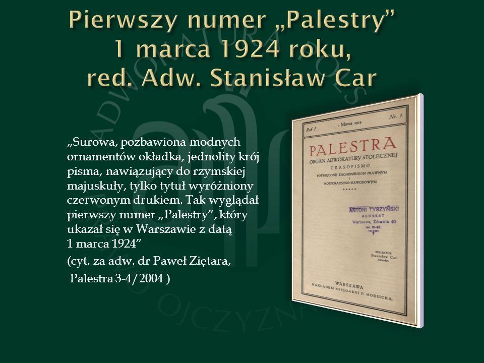 """Pierwszy numer """"Palestry 1 marca 1924 roku, red. Adw. Stanisław Car"""
