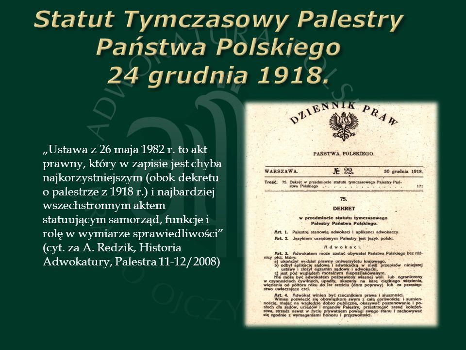 Statut Tymczasowy Palestry Państwa Polskiego 24 grudnia 1918.