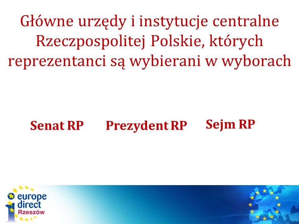 Główne urzędy i instytucje centralne Rzeczpospolitej Polskie, których reprezentanci są wybierani w wyborach