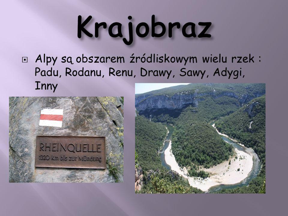 Krajobraz Alpy są obszarem źródliskowym wielu rzek : Padu, Rodanu, Renu, Drawy, Sawy, Adygi, Inny