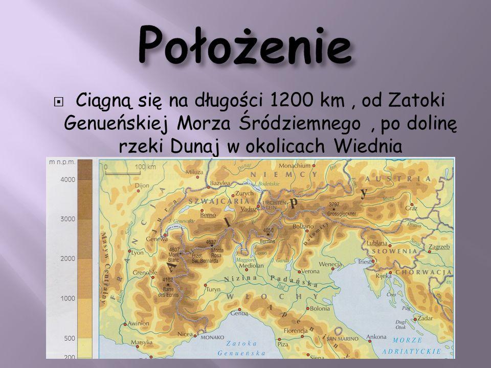 Położenie Ciągną się na długości 1200 km , od Zatoki Genueńskiej Morza Śródziemnego , po dolinę rzeki Dunaj w okolicach Wiednia.