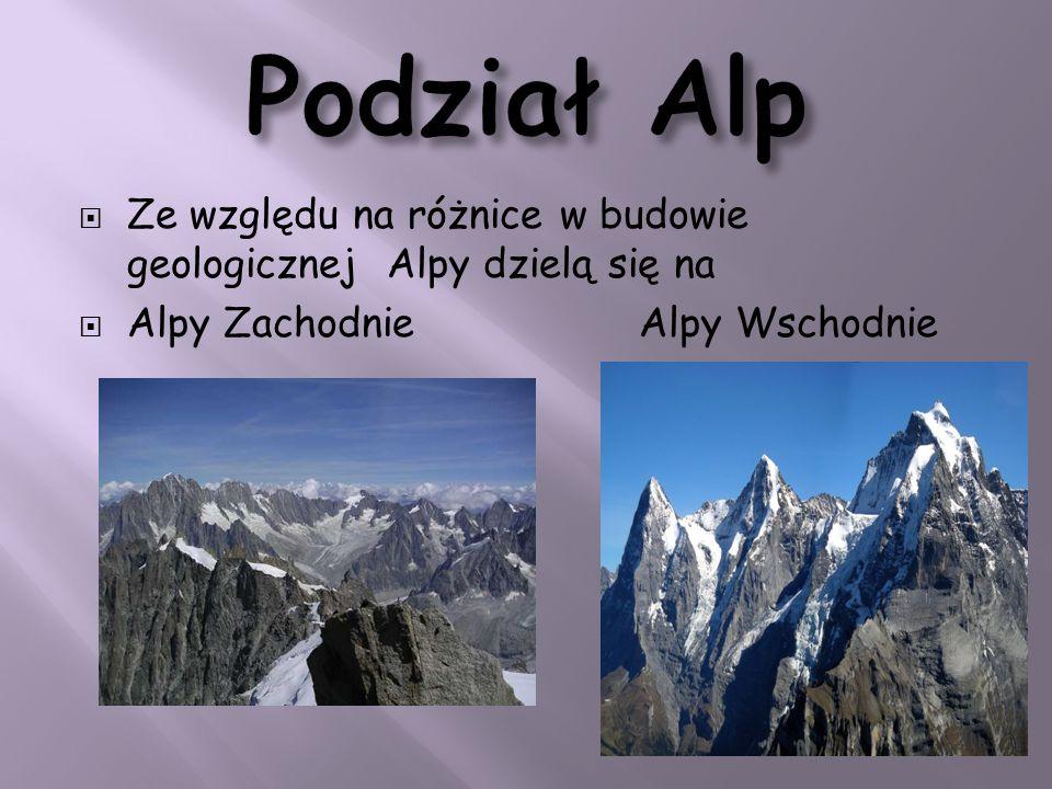 Podział Alp Ze względu na różnice w budowie geologicznej Alpy dzielą się na.
