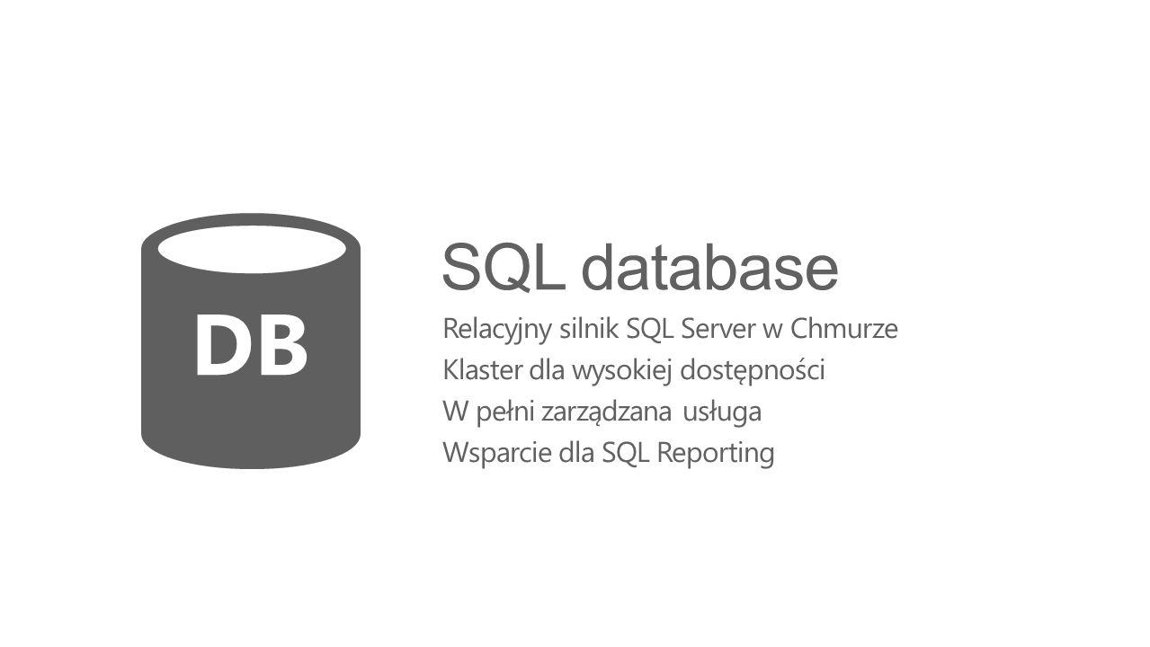 DB SQL database Relacyjny silnik SQL Server w Chmurze