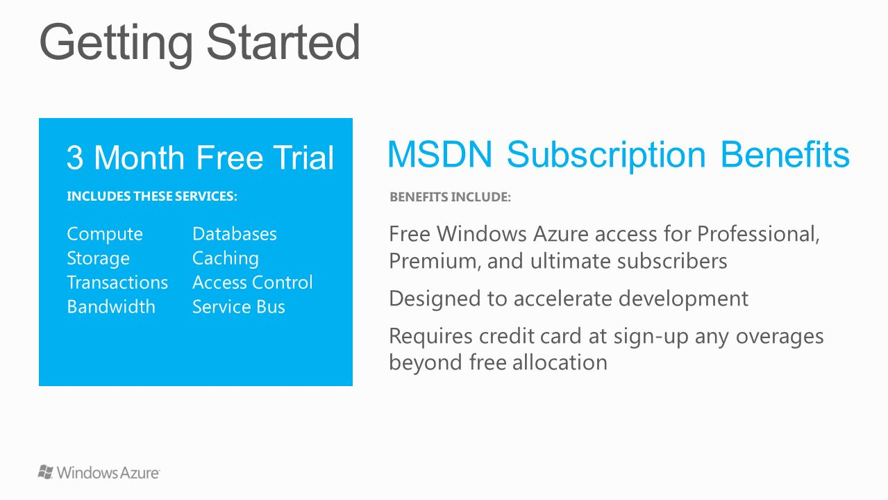 Getting Started MSDN Subscription Benefits 3 Month Free Trial