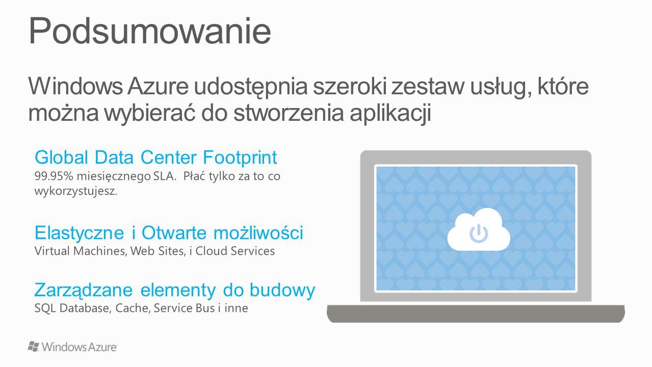 Podsumowanie Windows Azure udostępnia szeroki zestaw usług, które można wybierać do stworzenia aplikacji.