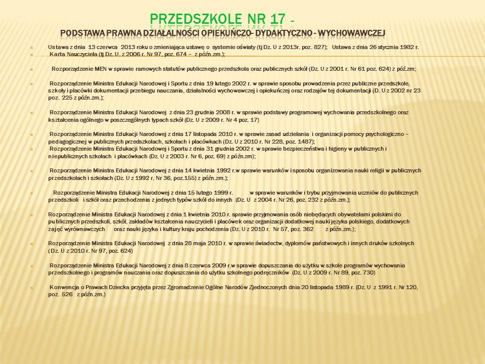 PRZEDSZKOLE NR 17 – Podstawa prawna działalności opiekuńczo- dydaktyczno - wychowawczej